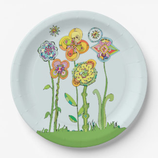 Whimsical Flowers Paper Plate
