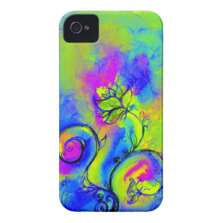 WHIMSICAL FLOWERS pink yellow green purple iPhone 4 Case-Mate Cases