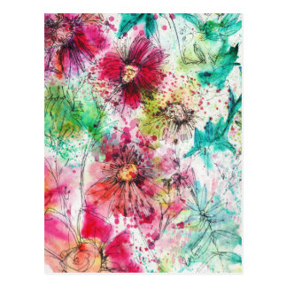 Whimsical Flowers Postcard