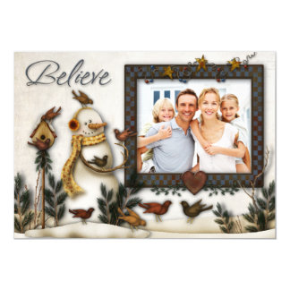 Whimsical Folk Art Snowmen Christmas Photo Card