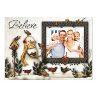 Whimsical Folk Art Snowmen Christmas Photo Card 13 Cm X 18 Cm Invitation Card