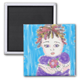 Whimsical Folk Sketched Pretty Little Girl Magnet