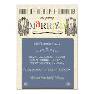 "Whimsical Font Gay Wedding Invitations 5"" X 7"" Invitation Card"
