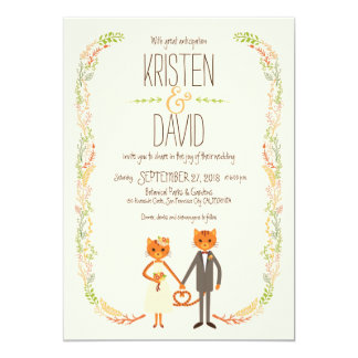 Whimsical Forest Cats (Cream) Wedding Card
