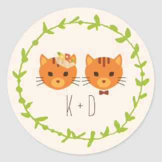 Whimsical Forest Cats (Cream) Wedding Round Sticker