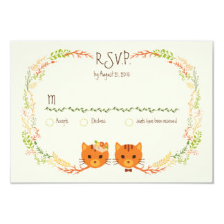 Whimsical Forest Cats (Cream) Wedding RSVP 9 Cm X 13 Cm Invitation Card