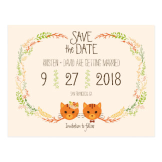 Whimsical Forest Cats Cream Wedding Save the Date Postcard