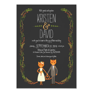 Whimsical Forest Cats Wedding 13 Cm X 18 Cm Invitation Card