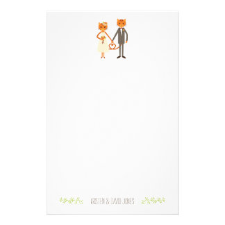 Whimsical Forest Cats Wedding Personalized Stationery Design