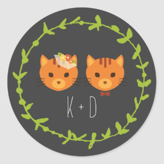 Whimsical Forest Cats Wedding Round Sticker