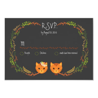 Whimsical Forest Cats Wedding RSVP 9 Cm X 13 Cm Invitation Card