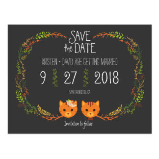 Whimsical Forest Cats Wedding Save the Date Postcard