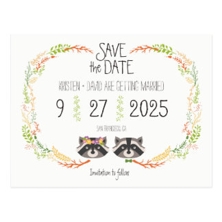 Whimsical Forest Raccoons Rustic Save the Date Postcard