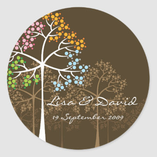 Whimsical Four Seasons Trees Brown Wedding Sticker