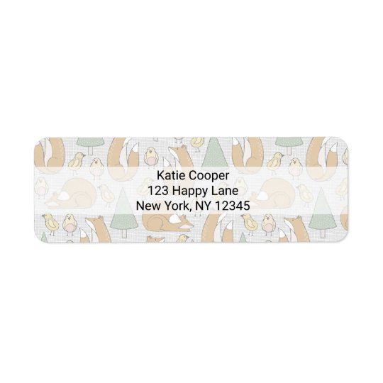 Whimsical Foxes, Birds and Trees Illustrated Return Address Label