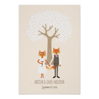 Whimsical Foxes (Ivory) Fingerprint Signature Tree Poster