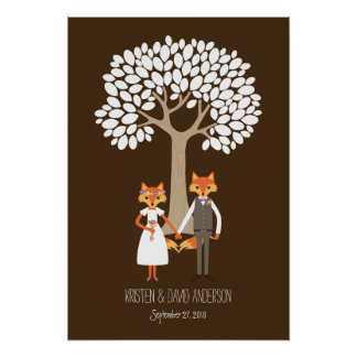 Whimsical Foxes Wedding Fingerprint Signature Tree Poster
