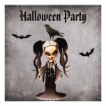 Whimsical Frankie Bride & Crow Damask Halloween