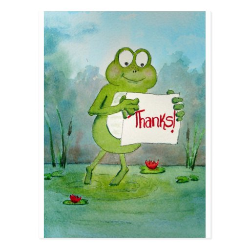 Whimsical Frog with Thanks Thank You Sign Funny Postcard