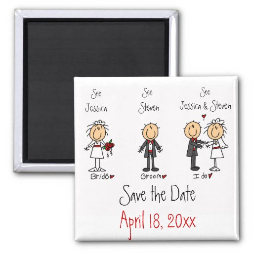 Whimsical Fun Save the Date Fridge Magnets