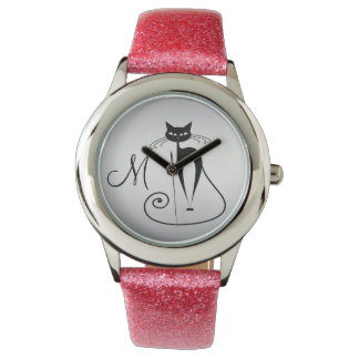 Whimsical Funny black cat elegant monogram Wrist Watches