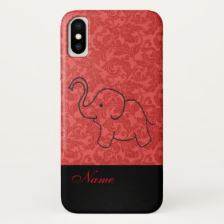 Whimsical Funny cute elephant  red damask iPhone X Case