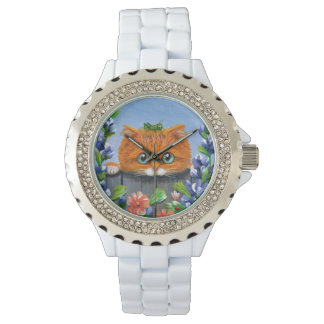 Whimsical Funny Orange Tabby Cat Creationarts Watch