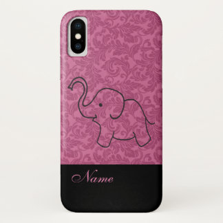 Whimsical Funny pink cute elephant damask iPhone X Case