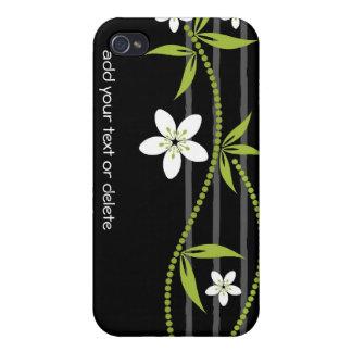 Whimsical Garden Black i iPhone 4 Cases
