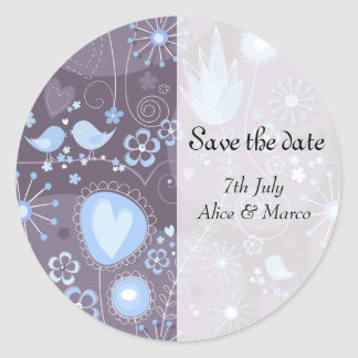 """Whimsical Garden in Blue """"Save the Date"""" Sticker"""
