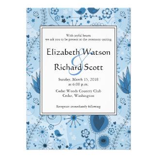 Whimsical Garden in Blue wedding invitation