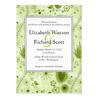Whimsical Garden in Green wedding invitation