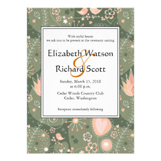 Whimsical Garden in Orange wedding invitation