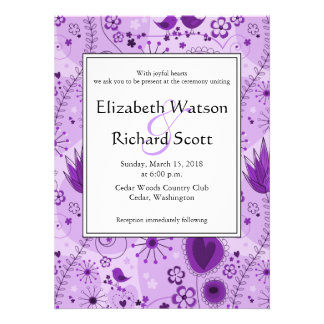 Whimsical Garden in Purple wedding invitation