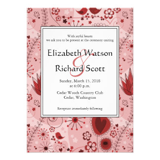 Whimsical Garden in Red wedding invitation