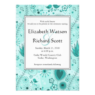 Whimsical Garden in Turquoise wedding invitation