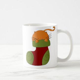 Whimsical Ginger Cat in Christmas Stocking Mug