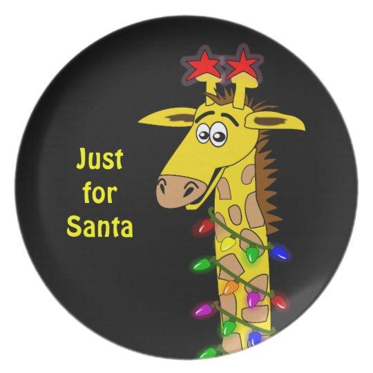 Whimsical Giraffe Christmas Lights Funny Custom Plate