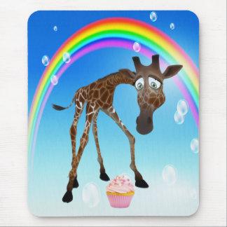 Whimsical Giraffe Cupcake Rainbow Mouse Pad