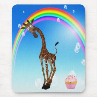 Whimsical Giraffe Cupcake Rainbow Mouse Pads
