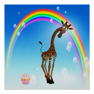 Whimsical Giraffe Cupcake Rainbow Print