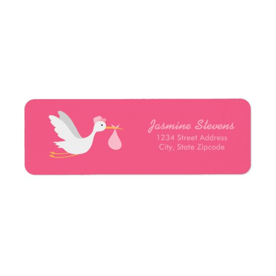 Whimsical Girl Stork Baby Shower Return Address Label