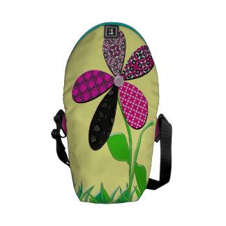 Whimsical Girly Flower Messanger Bag Courier Bag