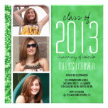 Whimsical Glitter Grad Announcement - Green