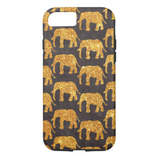 Whimsical Gold Glitter Elephants Pattern on Gray iPhone 7 Case
