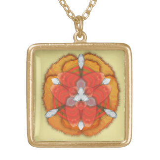 Whimsical Golden Orchid Exotic Flower Square Pendant Necklace
