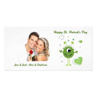 Whimsical Green Alien Monster St. Patrick's Day Personalized Photo Card