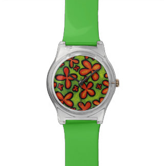 Whimsical Green And Orange Floral Watch