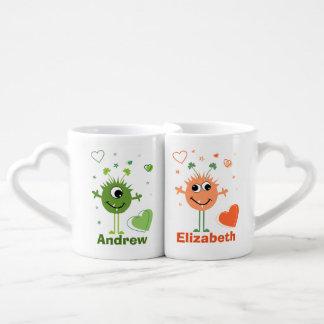Whimsical Green and Orange Monster Aliens Lovers Mug
