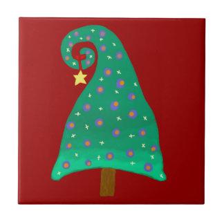 Whimsical Green Christmas Tree Small Square Tile